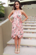 Love Of My Life Peach Floral Print High Low Midi Dress 1
