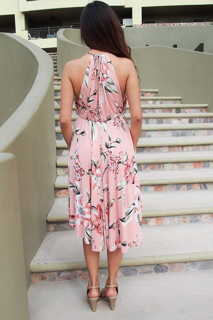 Love Of My Life Peach Floral Print High Low Midi Dress 4