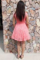 Love You Always And Forever Peach Lace Skater Dress 2