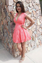 Love You Always And Forever Peach Lace Skater Dress 3