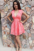 Love You Always And Forever Peach Lace Skater Dress 4