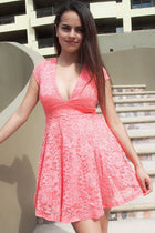 Love You Always And Forever Peach Lace Skater Dress 1