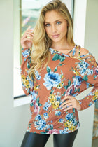 Love you More Rust Floral Print Top 1