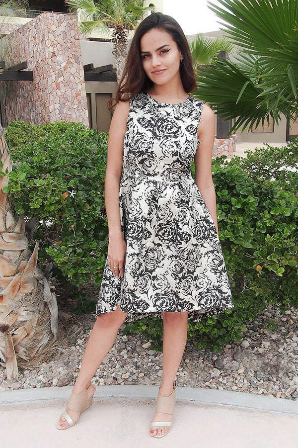 Luxe Of My Life Black and Silver Floral Metallic High Low Midi Dress 1