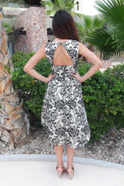 Luxe Of My Life Black and Silver Floral Metallic High Low Midi Dress 3