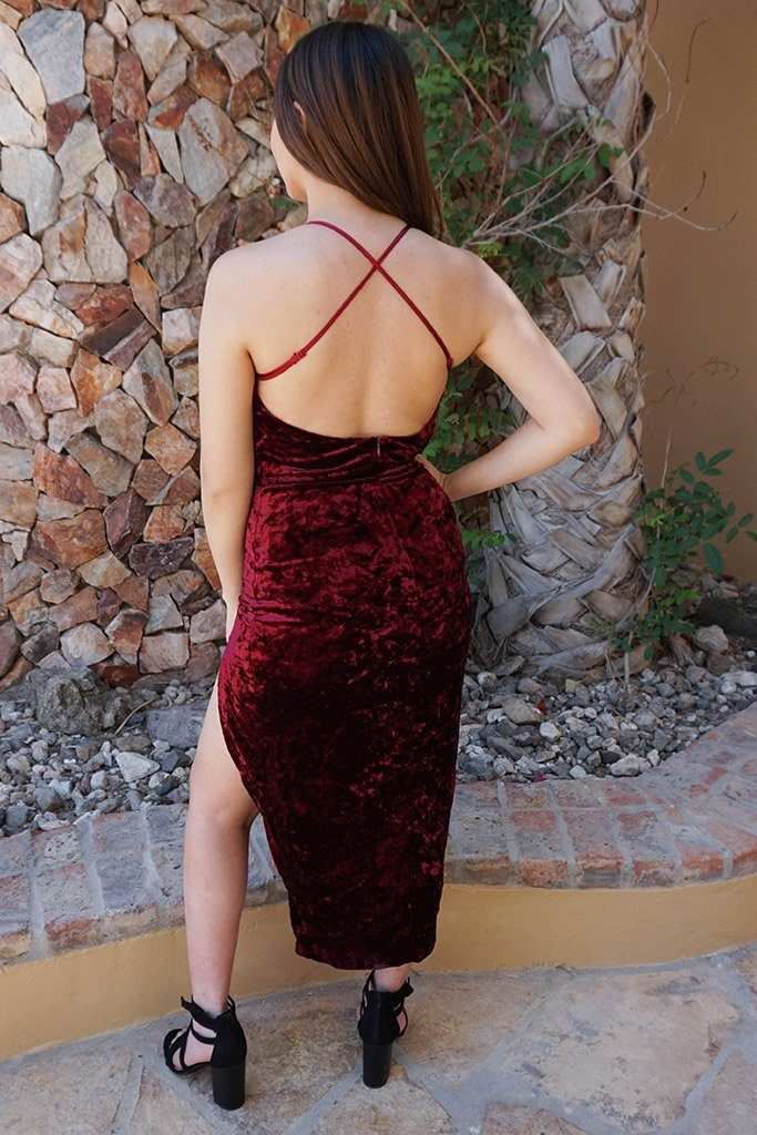 Made You Wink Crushed Velvet Deep Red Midi Dress 3