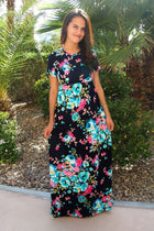 Magical Moments Navy Blue Floral Print Maxi Dress 1