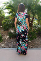 Magical Moments Navy Blue Floral Print Maxi Dress 2