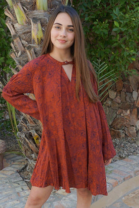 Magical Sunset Rust Red Print Long Sleeve Swing Dress 1
