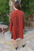 Magical Sunset Rust Red Print Long Sleeve Swing Dress 3