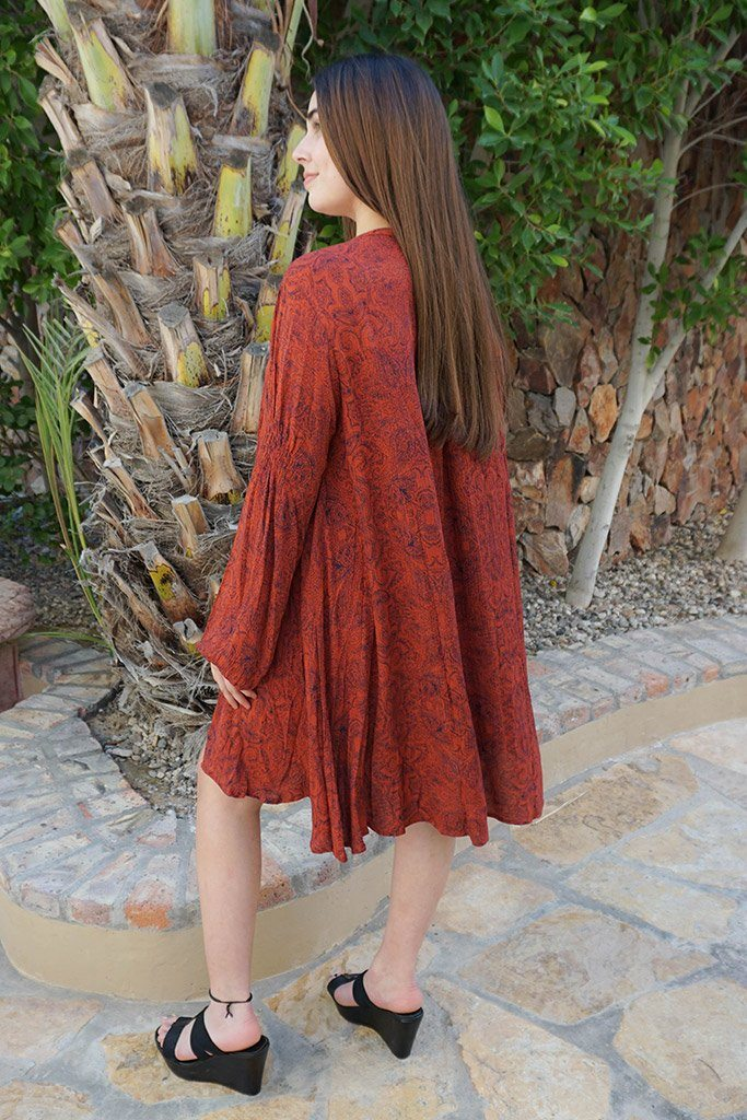 Magical Sunset Rust Red Print Long Sleeve Swing Dress 2