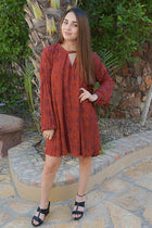 Magical Sunset Rust Red Print Long Sleeve Swing Dress 4