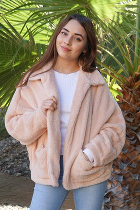 Make A Statement Beige Faux Fur Collar Jacket 1