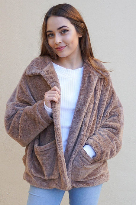 Make A Statement Mocha Brown Faux Fur Collar Jacket 1