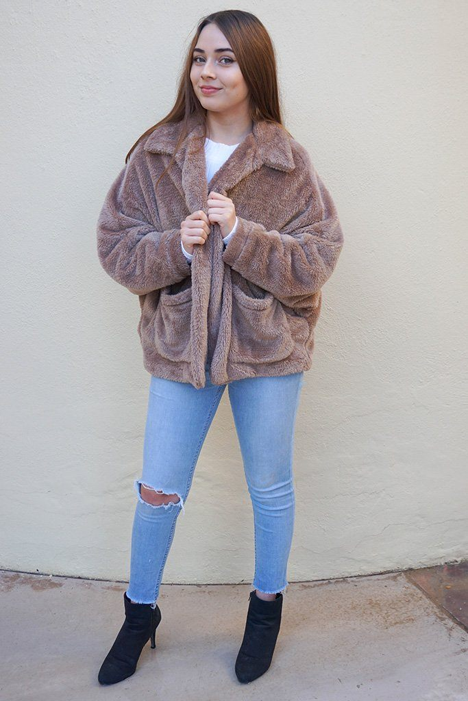 Make A Statement Mocha Brown Faux Fur Collar Jacket 4