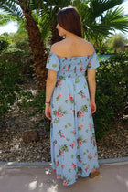 Make It Special Blue Floral Print Off The Shoulder Maxi Dress 3