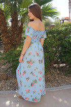 Make It Special Blue Floral Print Off The Shoulder Maxi Dress 2