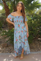 Make It Special Blue Floral Print Off The Shoulder Maxi Dress 4