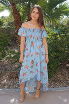 Make It Special Blue Floral Print Off The Shoulder Maxi Dress 1