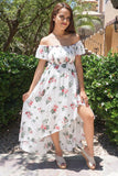 Make It Special White Floral Print Off The Shoulder Maxi Dress