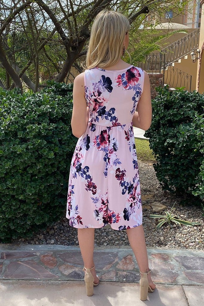 Make My Dreams Come True Pink Floral Print Midi Dress 4