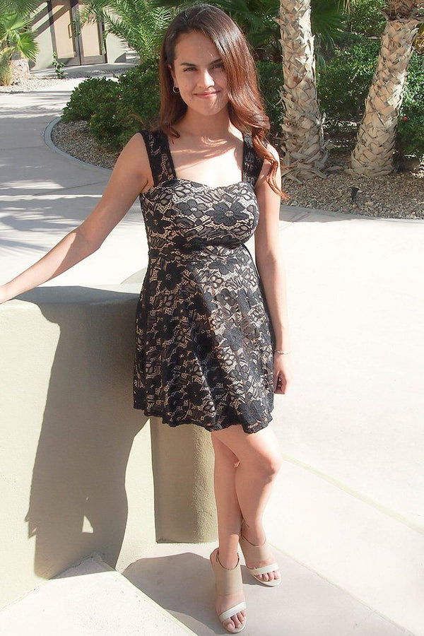 Meet Me In Manhattan Black Lace Skater Dress 4
