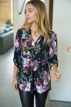 Midnight Flower Black Floral Print Button Up Top 4