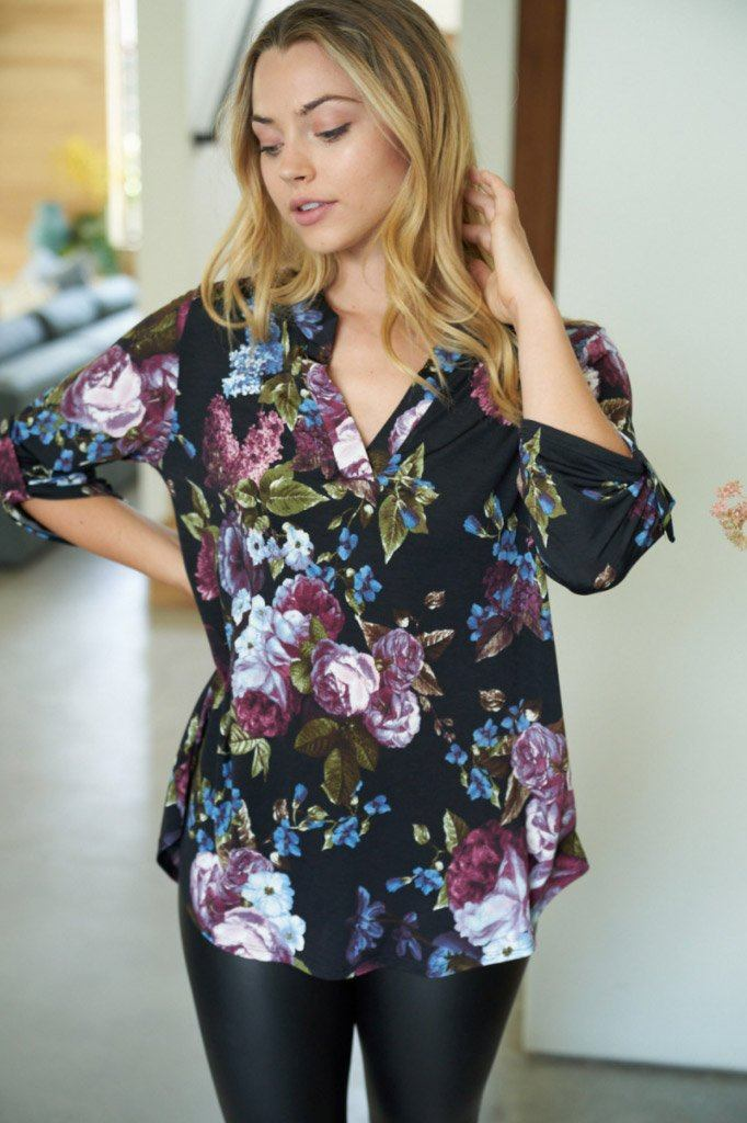 Midnight Flower Black Floral Print Button Up Top 3