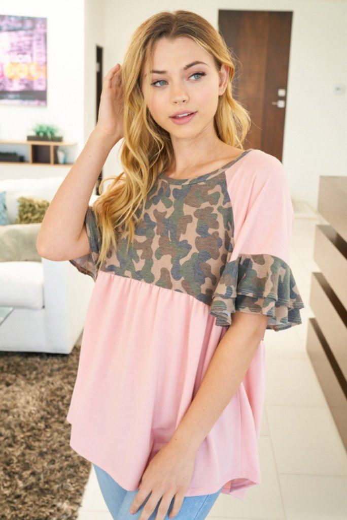 Moments At Attention Pink Camo Top 1
