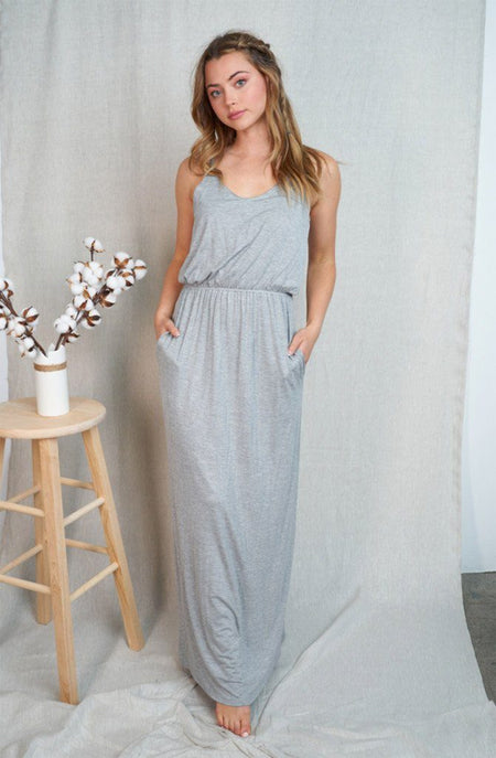My Best Day Heather Grey Racerback Maxi Dress 1