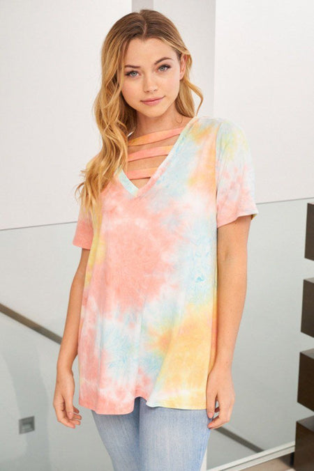 My First Love Coral Multi Tie Dye Cutout Top 1