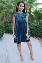 My Kind Of Romance Blue Lace Crushed Velvet Swing Dress 1