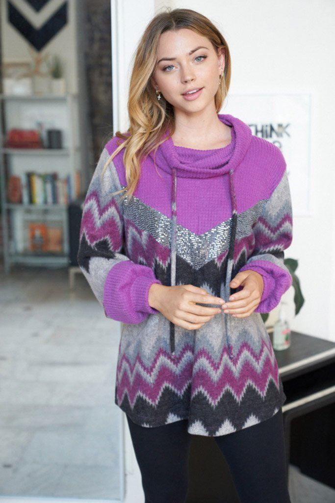 My New Favorite Purple Multi Print Sweater 3