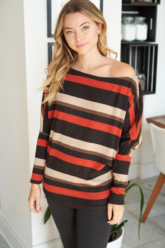 Never Forget You Rust Stripe Off The Shoulder Top 1