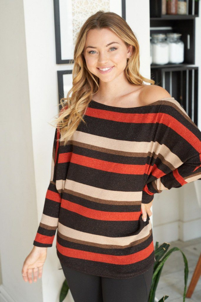 Never Forget You Rust Stripe Off The Shoulder Top 4