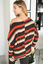 Never Forget You Rust Stripe Off The Shoulder Top 2
