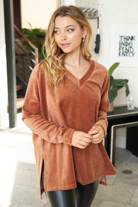 New Sensations Bronze Velvet Pullover Top 1