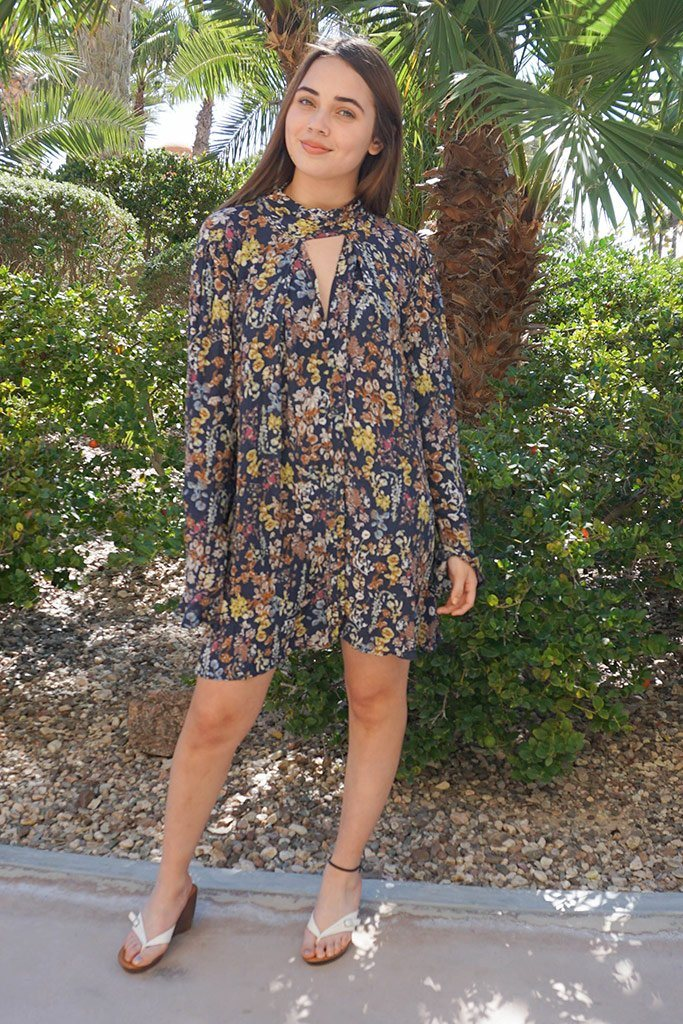 New You Navy Blue Floral Print Long Sleeve Dress 4