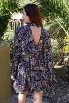 New You Navy Blue Floral Print Long Sleeve Dress 3