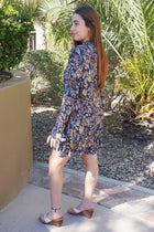New You Navy Blue Floral Print Long Sleeve Dress 2