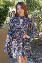 New You Navy Blue Floral Print Long Sleeve Dress 1