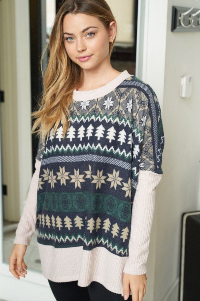 Next Level Cozy Navy Holiday Print Sweater 4