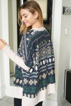 Next Level Cozy Navy Holiday Print Sweater 2