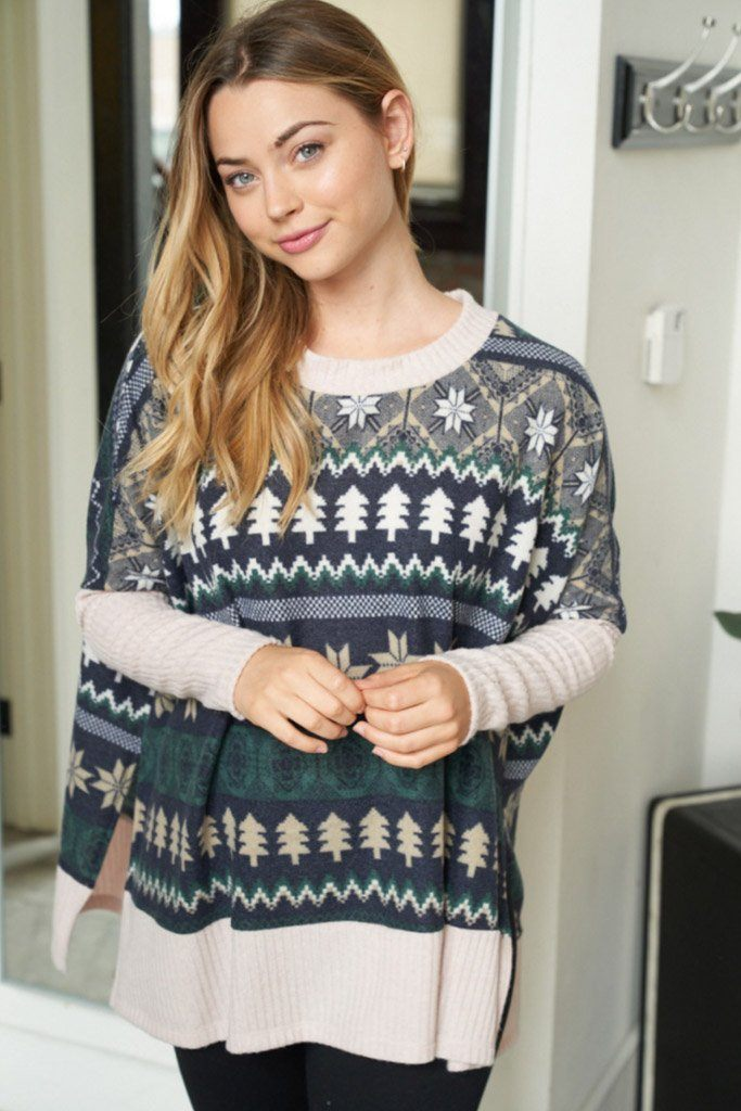 Next Level Cozy Navy Holiday Print Sweater 3