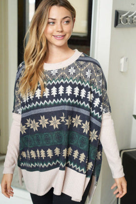 Next Level Cozy Navy Holiday Print Sweater 1
