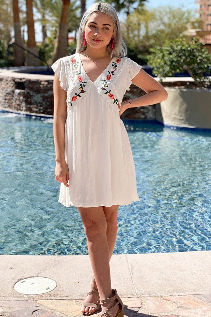 4 Off To Paradise White Embroidered Dress at ledyzfashions.com