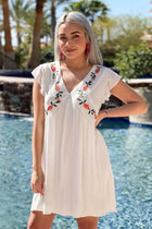 1 Off To Paradise White Embroidered Dress at ledyzfashions.com