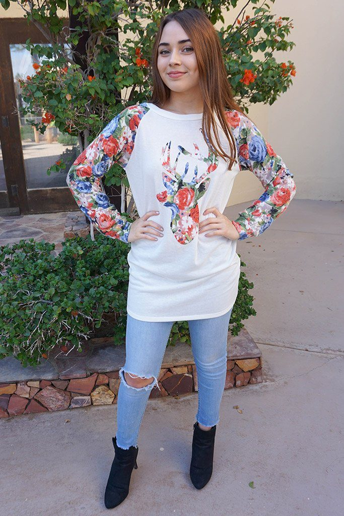 Oh Floral Reindeer Cream Long Sleeve Sweater Top 4
