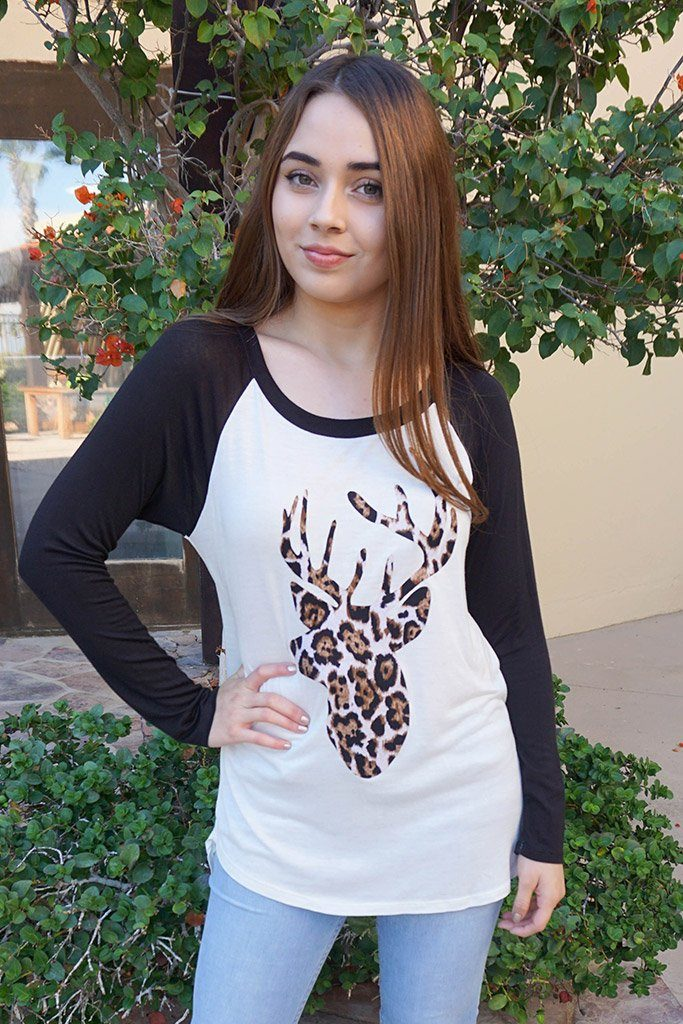 Oh Leopard Reindeer Black Long Sleeve Raglan Baseball Top 1