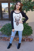 Oh Leopard Reindeer Black Long Sleeve Raglan Baseball Top 3